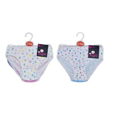 Girls 3 Pack of 100% Cotton Briefs Pants Knickers Age Size 2-3 3-4 5-6 7-8 New