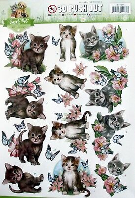 A4 DIE CUT 3D PAPER TOLE DECOUPAGE Push Out Sheet Sweet Cat Collection Kitten