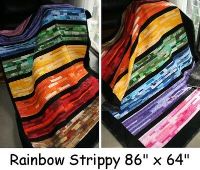 "Hand Made Quilt ""RAINBOW STRIPPY"" Design by Quilt-Addicts 86"" x 64"""
