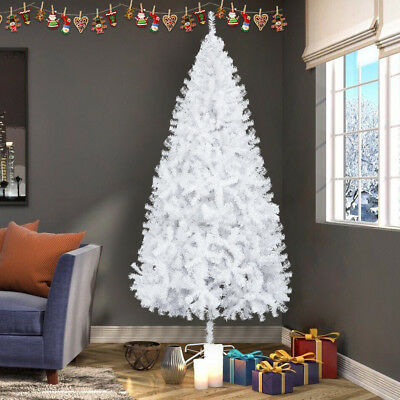7 Ft Artificial White Christmas/Hanukkah/Holiday Tree w Metal Stand 950 TIPS