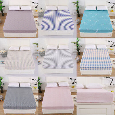 100% Cotton Fitted Sheet Sheets for Queen King Size Bed Bedding Multi Pattern UK