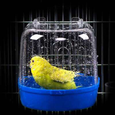 Bird Water Bath Tub For Pet Bird Cage Hanging Bowl Parrots Parakeet Birdbath 1X