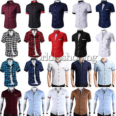 Stylish Mens Casual Dress Shirts Short Sleeve Slim Fit Business Tee Shirt Tops