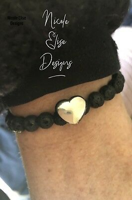 Aromatherapy diffuser bracelet lava stones 8mm & Stainless Heart Essential Oils