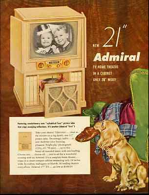 "1952 vintage ad for ADMIRAL 21"", TV HOME THEATER ' -110112"