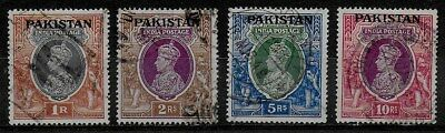 Pakistan 1947 KGVI India overprinted - High Values - Used to 10R