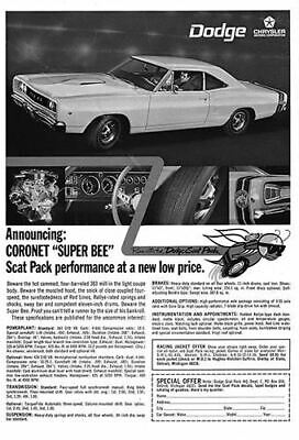 1968 Dodge Coronet Super Bee #100981  Vintage Car Poster Print Art Sign Wall