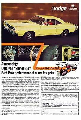 1968 Dodge Coronet Super Bee #100980  Vintage Car Poster Print Art Sign Wall