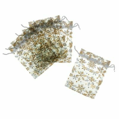 25 Pieces Snowflake Christmas Organza Gift Bags Wedding Favor Bags Jeweller Y2N8