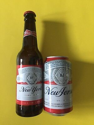 2018 Budweiser NEW YORK Empty Bottle w/cap & NEW JERSEY Empty Bottom Opened Can