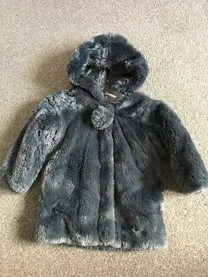 3 Pommes Girls Faux Fur Coat. Age 2. Brand New With Tags.