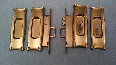 R & E Sliding Pocket Door Lock Double Recessed Pulls NOS