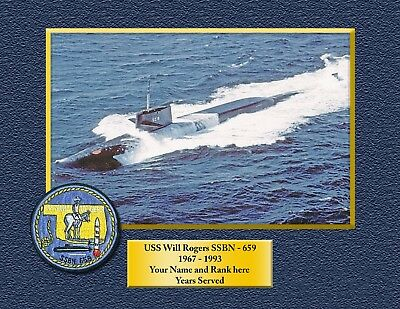 USS WILL ROGERS SSBN659 Custom Personalized Print of US Navy Gift Idea