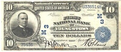 1902 SERIES, $10.00 Youngstown, OH, Issued Apr. 6, 1919 FINE CONDITION, UNGRADED