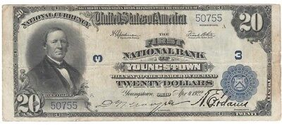 1902 SERIES, $20.00 Youngstown, OH, Issued Apr. 1, 1922 FINE CONDITION, UNGRADED