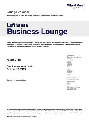 One (1) LUFTHANSA Business Lounge Club Pass All Access Class Ticket Exp. 10/2019