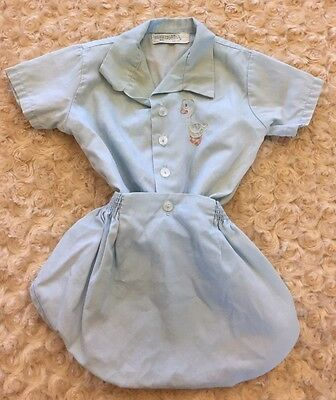 Vintage Baby Boys Outfit Honeysuckle Sears Blue Duck Embroidered Diaper Cover