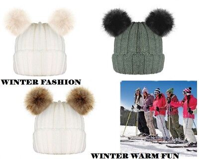 Ladies Girls Unisex Winter Chunky Knit Beanie Bobble Hat Twin Faux Fur Pom Pom.