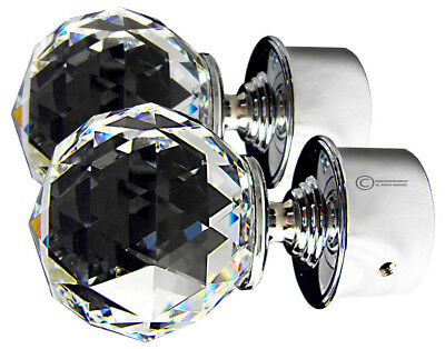 TEZ 60mm Crystal Glass Curtain Pole Finials - 60mm Crystal Dia - Sold as a pair