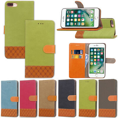 COQUE ETUI HOUSSE PORTEFEUILLE LUXE TISSU CUIR NEUF POUR IPHONE 5 SE 6 7 8 Xs Xr