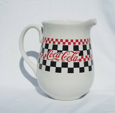 Coca Cola Coke Checkerboard Pitcher Race Gibson 1996 White Ceramic Mint Nos D186