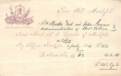 Cheshire - MACCLESFIELD, Corporation, Town Hall,  Interest Account, Invoice 1864