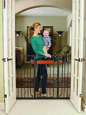 Baby Walk Thru Gate For Stairs Pet Dogs Safety Extra Tall Hardwood