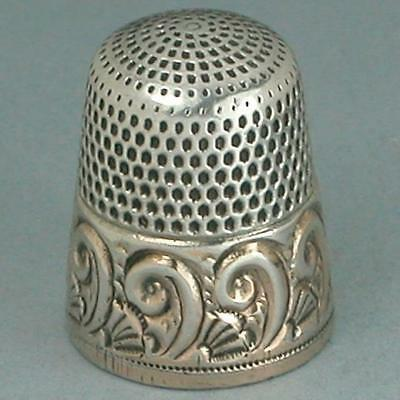 Antique Gold Band Sterling Silver Thimble * American * Circa 1890s
