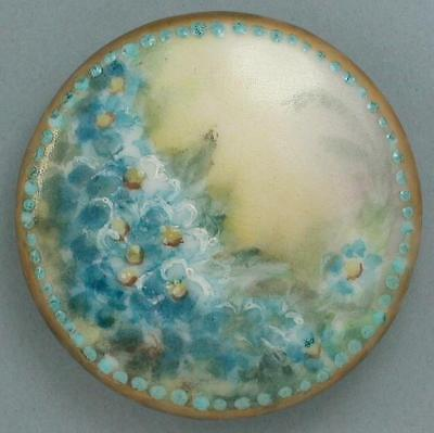Large Antique Hand Painted Porcelain Button * 19th Century