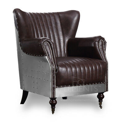 Aviator Chair Wing Back Armchair Industrial Retro Brown PU Leather FREE Delivery