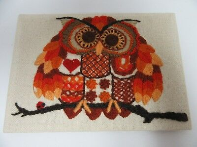 Finished Crewel Embroidery Jiffy Patchwork Owl Lady Bug Completed 5x7 Vintage