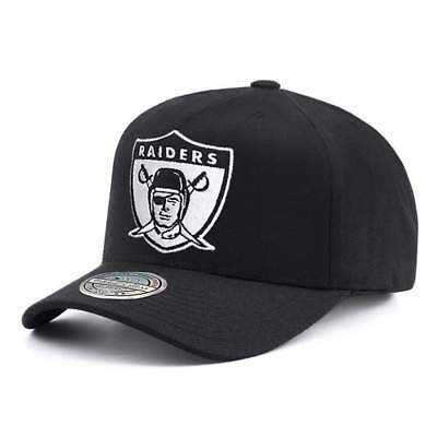 Oakland Raiders Mitchell & Ness NFL Black & White 110 Curve Snapback Hat