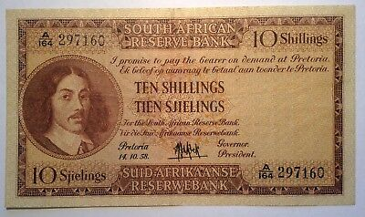 BRT Rare 1958 10 Shillings South Africa F - VF