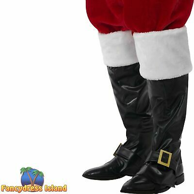 Santa Boot Covers Deluxe Black Fur Tops Christmas Mens Fancy Dress Accessory