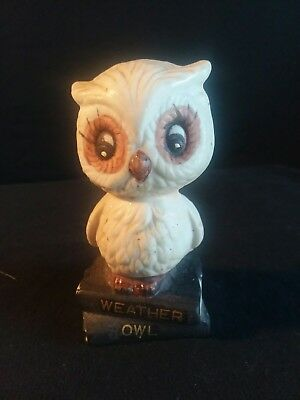 """Vintage Bisque Ceramic Owl Weather Forecaster!  ENESCO!  1975!  3 1/2"""" TALL!"""