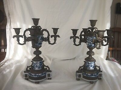 Wong Lee Porcelain And Brass Pair Of Candelabras.