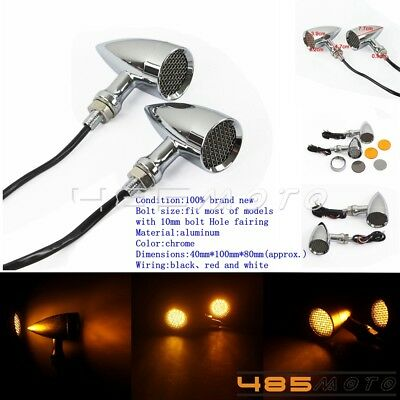 LED Bullet Turn Signal Light Indicator Flasher Lamp Fits Harley Chopper Bobber