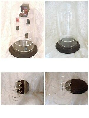 Vintage THIMBLE or MINIATURE DOMED tall Display Case 6 Rack Table Top