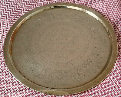 Antique Egyptian Engraved Ancient Brass Table Tray 58cm Diameter