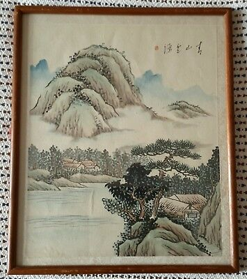 Chinese Japanese Oriental Landscape Painting on Fabric (? silk) Framed