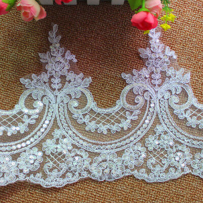 1 Yard Embroidered Lace Trim Applique Wedding Dress Lace Fabric Decor Wholesale