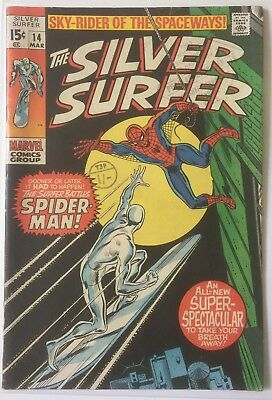 Silver Surfer #14 (Vol 1) FN/6.0. Feat Spider-Man. Marvel.