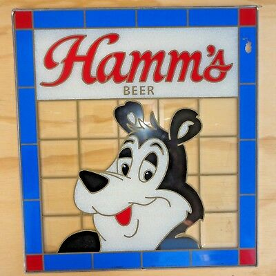 Vintage 1989 Hamms Beer Bear Brewery Faux Stained Glass Window Sign Pabst