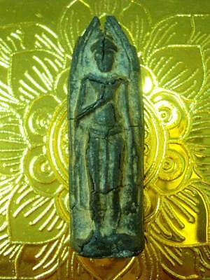 Ancient Thai Amulet Khmer Standing Buddha Figure Real Old Talisman Powerful