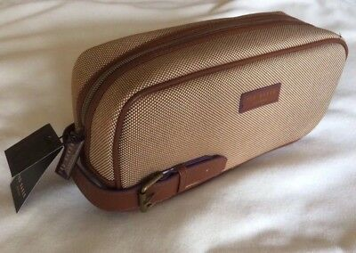 TED BAKER Mens Canvas Holiday Sports Wash Bag Gym Travel With Leather  Handle New a974c7ac90