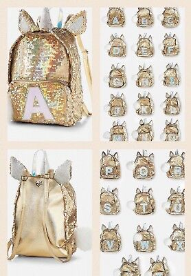 Justice Girls Unicorn Gold Flip Sequin MINI Backpack-Initial New You choose Cute