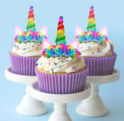 24 Stand Up Mini Unicorn Rainbow Horn Ears Edible Cupcake Cake Images Toppers
