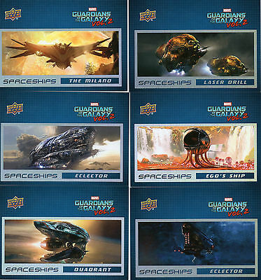 """2017 Marvel Guardians of the Galaxy Vol 2; 6 Card """"Spaceships"""" Chase Set"""