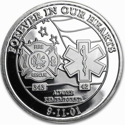 1 oz .999 Pure Solid Silver Art-Round ~ Forever In Our Heart ~ 911 Commemorative
