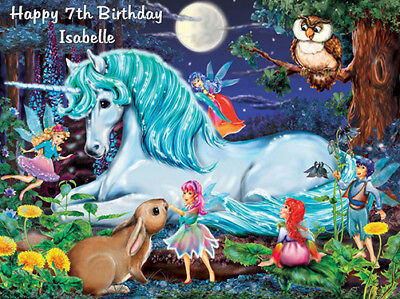 UNICORN and FAIRIES EDIBLE WAFER PAPER PARTY CAKE DECORATION IMAGE TOPPER